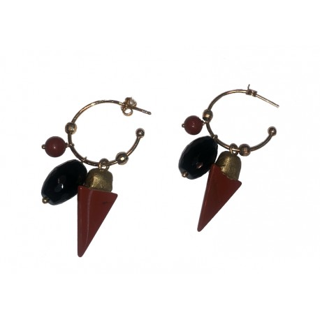 Modular hoop earrings in 925 silver gold plated with red jasper and onyx