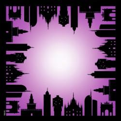 Milan Skyline Violet Scarf