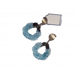 925 silver earrings Made in Italy gold plated with pyrite and blue agate
